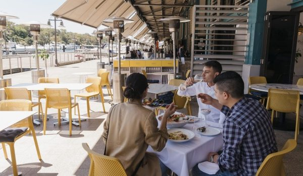 Outdoor dining at The Amalfi Way on Woolloomooloo Wharf